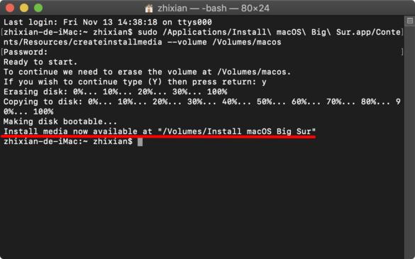macOS Big Sur USB 完成