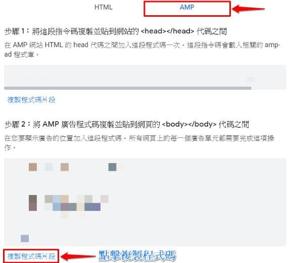 複製 AMP 程式代碼