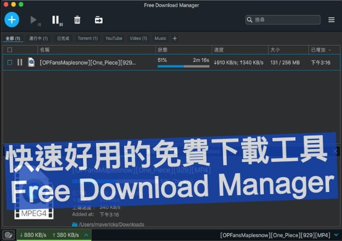 Free Download Manager 快速好用的免費下載工具