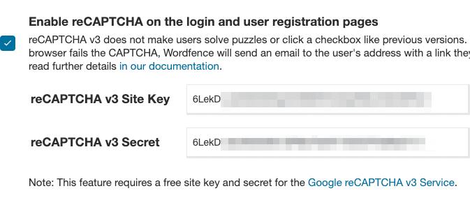Google reCAPTCHA v3 整合 Wordfence