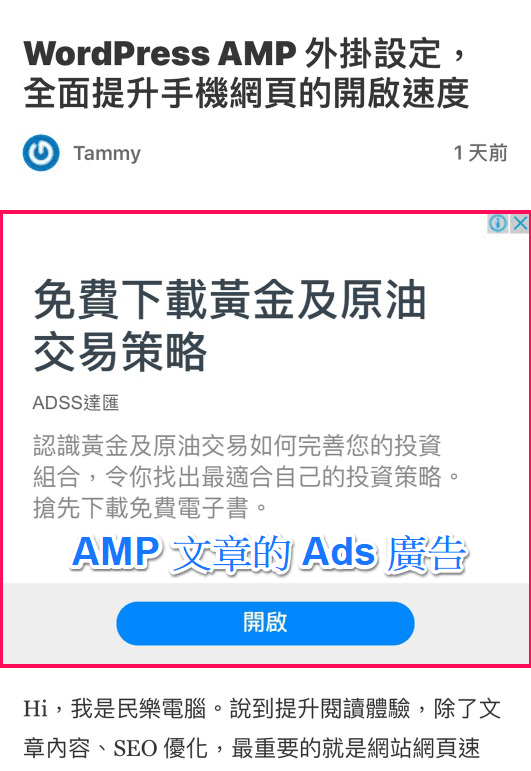 AMP 文章廣告顯示效果